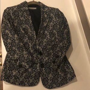 Gray and black lace patterned blazer
